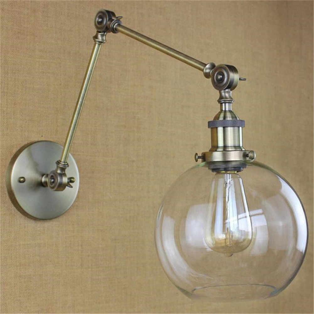 Art Decor lampy nordic huśtawka ramiona ściany światła jasne globus szklany klosz czarny chrom złoto brąz nowoczesny lampa retro kinkiet