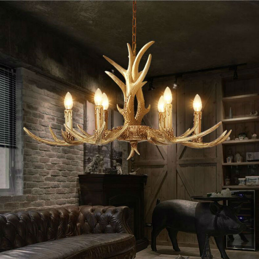 Europe Country 6 Head Candle Antler Pendant Lights American Retro Resin Deer Horn Lamps Home Decoration Lighting E14 110-240V europe country 5 heads french retro pendant light resin deer horn antler glass lampshade home decoration lighting e27 110 220v