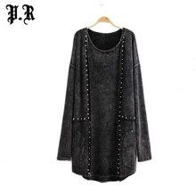 Женское платье, vestido, винтажные платья размера плюс, vestidos femininos, панк-рок, уличная одежда, модная женская одежда с заклепками