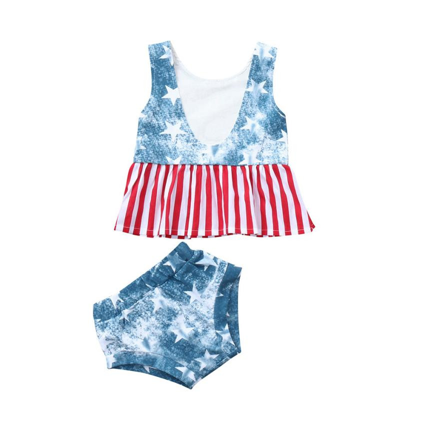MUQGEW Childrens Clothes Baby Girls Clothing Set 4th Of July Star Stripe Tops Vest+Shorts Outfits Cloth