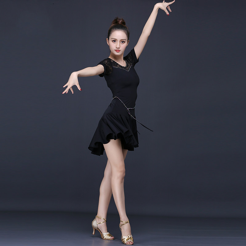 Latin Dance Costume Woman Black Practice Dress Short Sleeve Tango Dancewear Female Ballroom Competition Dresses for Sale image