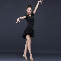 Latin Dance Costume Woman Black Practice Dress Short Sleeve Tango Dancewear Female Ballroom Competition Dresses for Sale
