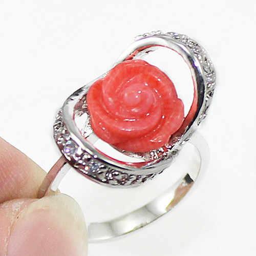 ร้อนขายโนเบิล-จัดส่งฟรี>>>@@ Roo175หยกดอกไม้แหวนแฟชั่นชุบเงิน#