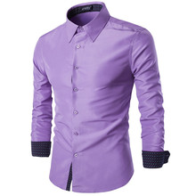 Fashion Slim Fit Men s Casual Shirt Social Solid Color Shirt Full Sleeve Turn Down Collar