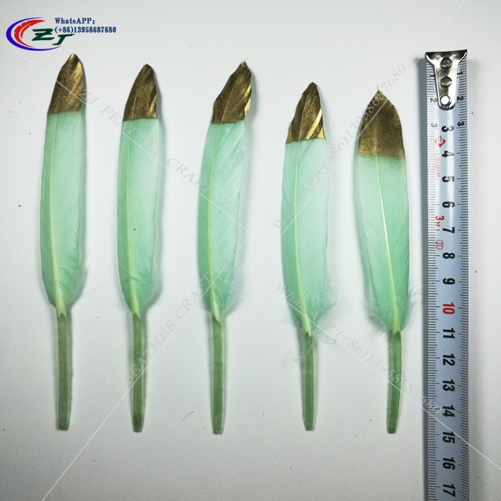 100pcs 10-15cm Natural goose feathers Gold/Mint Feathers DIY Plume Jewelry Accessories Wholesale