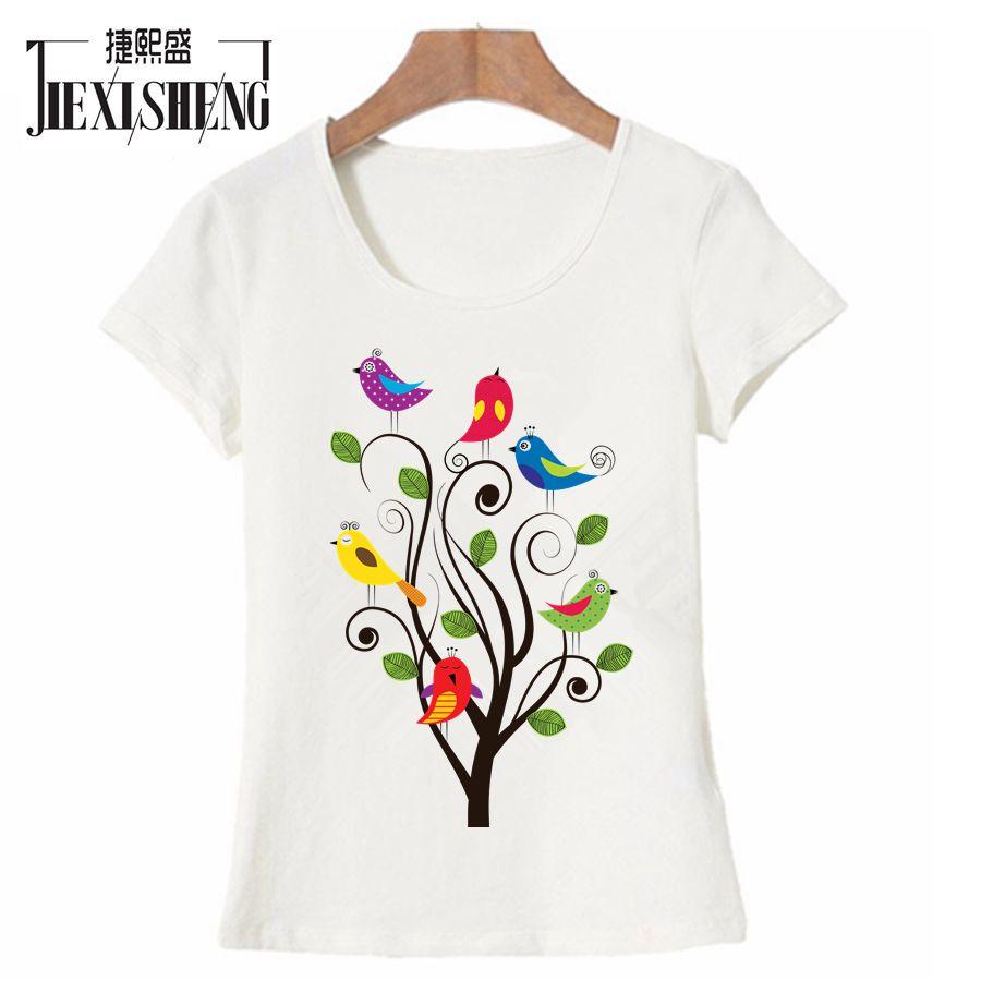 Animal Bird Print Women T Shirt Summer Cute Funny T-shirt Short Sleeve Tops Harajuku Brand Clothing Tshirt