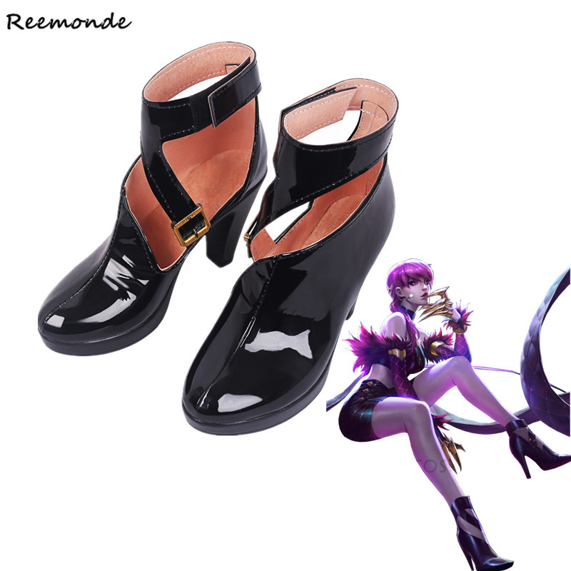 KDA Evelynn Cosplay Leather Shoes High Heels Game LOL K/DA Cosplay Purple High-Heeled Shoes For Women Ladies Girls Shoes