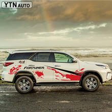 car stickers 10PC 4X4 off road stripe side body graphic vinyls accessories decals custom for toyota FORTUNER