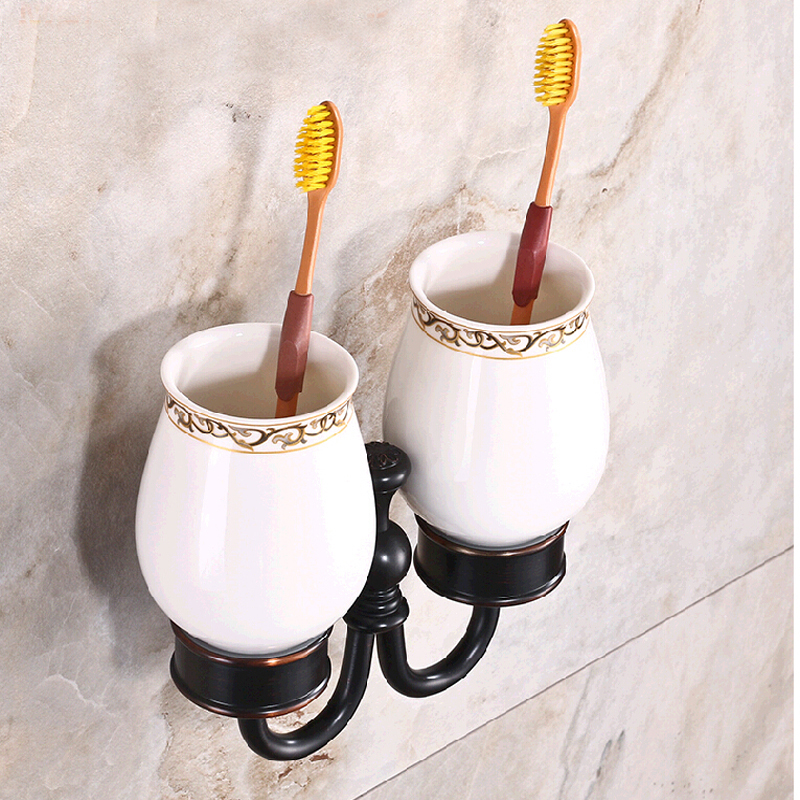 Wholesale And Retail Luxury Oil Rubbed Bronze Tooth Brush Holder Dual Cups Wall Mounted Flower Carved Solid Brass Holder black oil rubbed bronze wall mounted toothbrush holder with two ceramic cups wba472