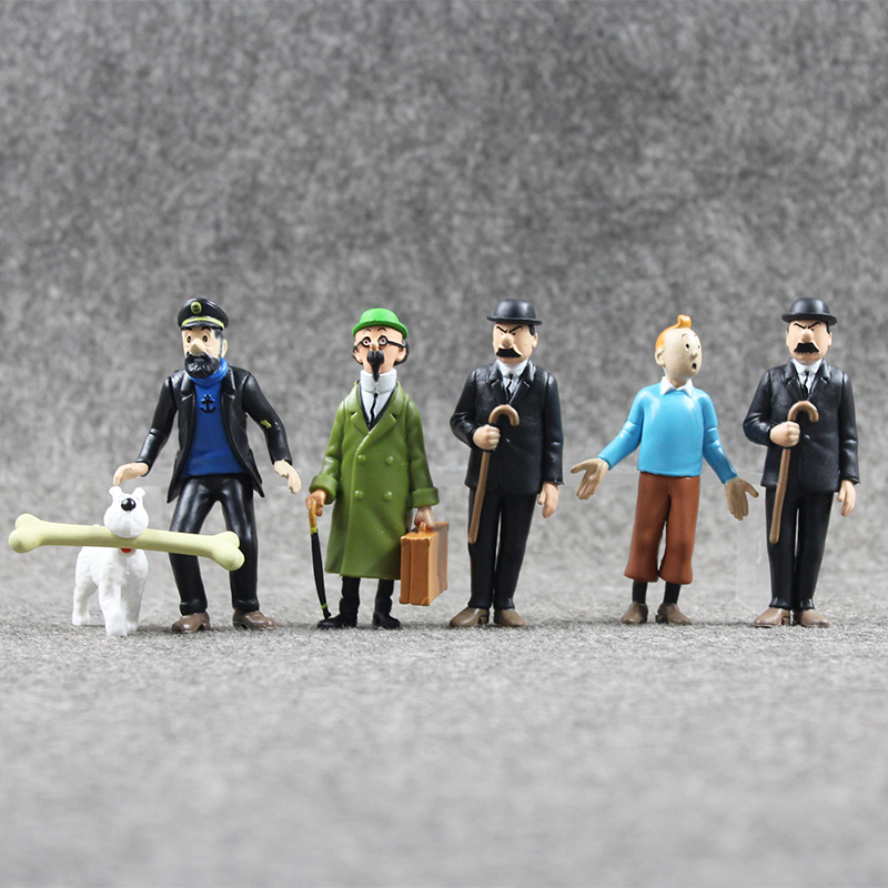 6pcs lot Anime Cartoon The Adventures Of Tintin PVC Action Figures Collectible Model Toys 4 9CM