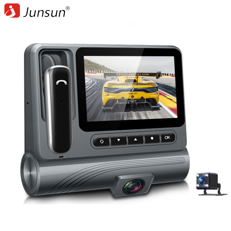 Junsun S90 Car DVR Camera Dash Cam 1080P with Separate Bluetooth headset Video Recorder Dual Lens Car Camcorder Night Vision mix sizes 1000pcs pack crystal clear ab non hotfix flatback rhinestones nail rhinestoens for nails 3d nail art decoration gems