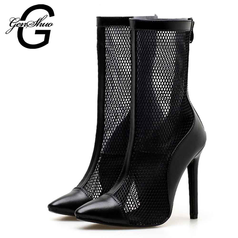 Fashion High Heels Women Summer Boots Sexy Stiletto Breathable Mesh Mid Calf Boots Women High Heels Shoe Ladies Cool Boots Black