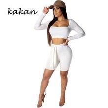 Kakan sexy U-neck jumpsuit two-piece slim 4 pants suit halter white black