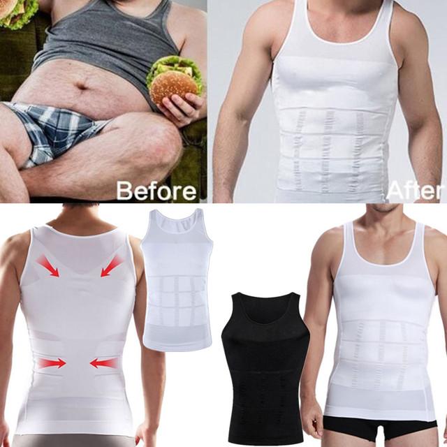 1 pcs Homens Camisa Corset Corpo Slimming Tummy Shaper Vest Belly Cintura Cinturão Shapewear Cueca