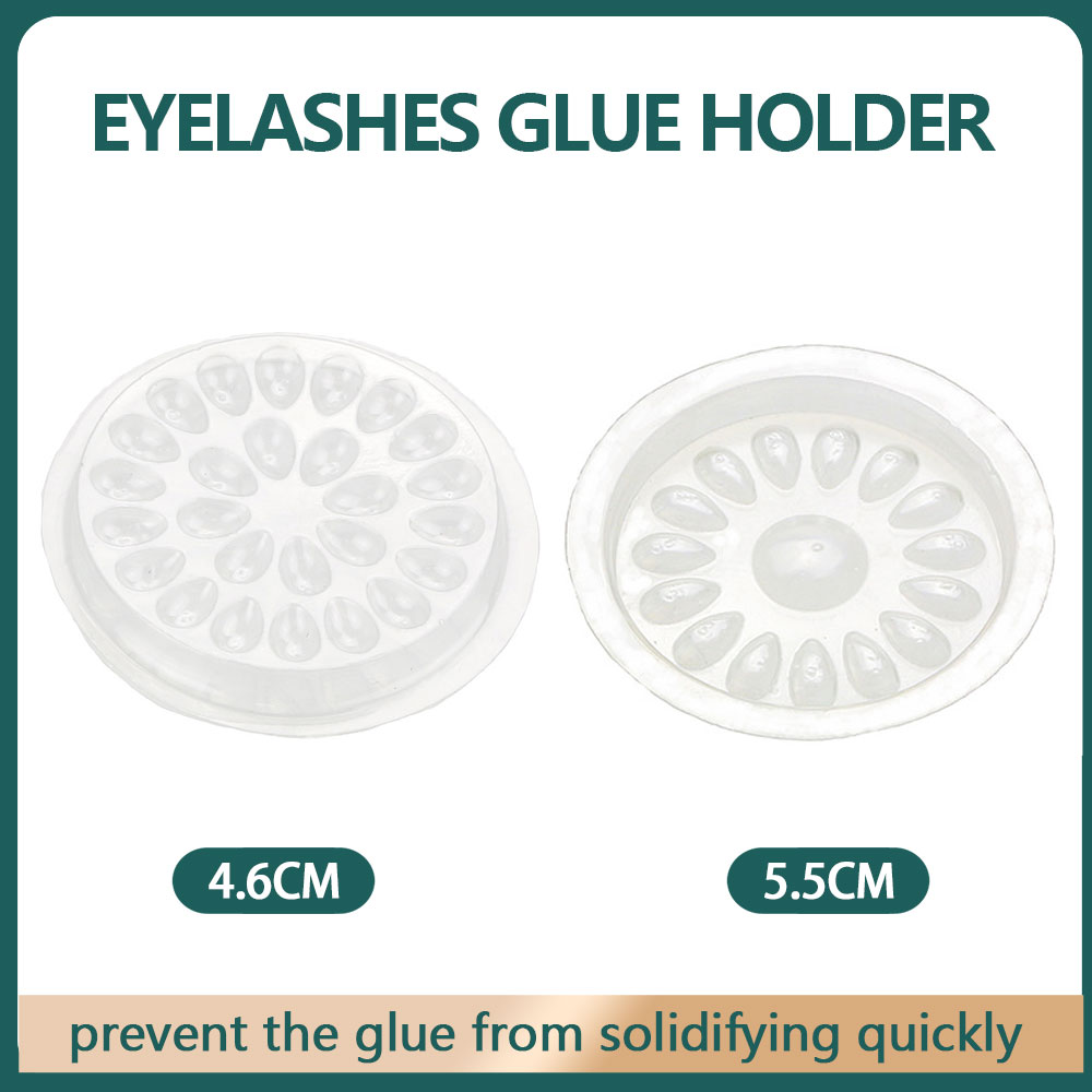 Disposable Plastic Glue Pallet Pad For Eyelash Extensions Transparent Flower Shaped Lashes Gasket Adhesive Pigment Holder Base