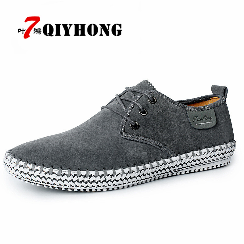 QIYHONG Genuine Suede Autumn Men Shoes 100% Handmade Hot Sale Shoe Fashion Male Leisure Soft Loafers High Quality Driving Shoes цены онлайн