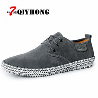 QIYHONG Genuine Suede Autumn Men Shoes 100 Handmade Hot Sale Shoe Fashion Male Leisure Soft Loafers