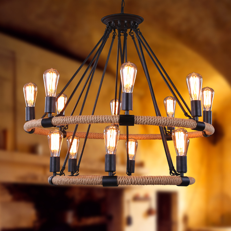 Loft style simple retro pendant lamp Bar Cafe Tieyi Lighting Iron Chandelier pendant lamp rope pendant lights 2012 hot sell lighting tieyi gourd pendant light modern fashion tieyi mdp100601 18a free shipping