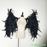 shooting props Cosplay photography black costume Angel demon wing feather angel wings for Fashion show Displays
