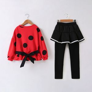 Image 3 - Kids Clothes Sets for Girls Long Sleeve Coat+ Black Color Elastic Skirt Pant Children Clothing Suits Spring Autumn 2pc 3 10 ages