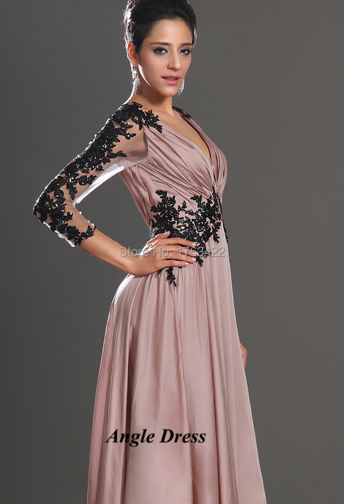 Ever Pretty Light Pink Black Lace Long Sleeve Evening Dresses Long ...
