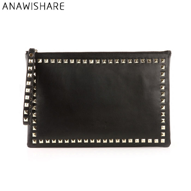 ANAWISHARE Women Day Clutches Leather Rivet Handbags Ladies Black Envelope Evening Party Bag High Quality Bolsas Feminina
