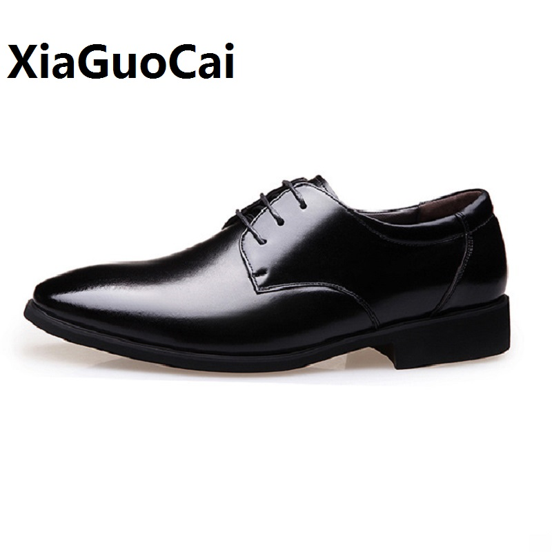 Spring Autumn Man Dress Shoes Leather Pointed Toe Solid Color Black Breathable Lace Up Business Wedding Formal Shoes for Meal new fashion men business office formal dress solid genuine leather shoes lace up pointed toe flats oxfords shoe spring autumn