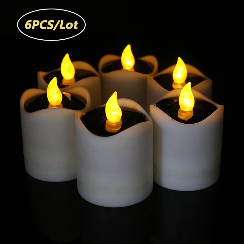6 pcs lote movido a energia solar luzes de velas cintilacao sem chama cha festival lampada