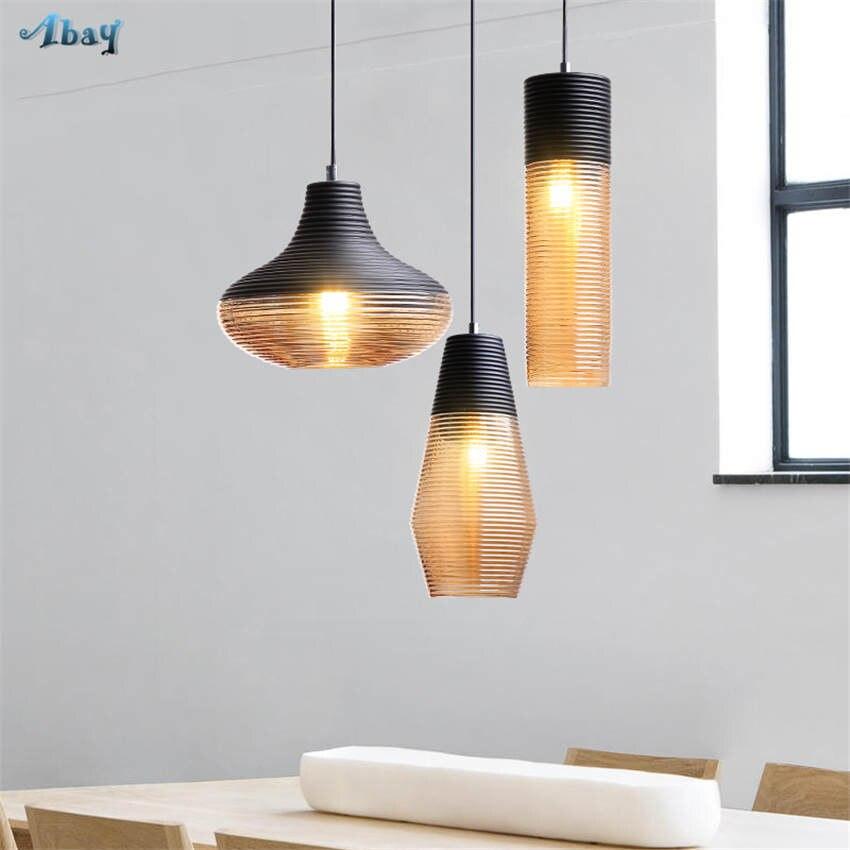 American vintage vis fil teinté verre pendentif lumières pour salon bar art déco salle à manger luminaires led accrocher lampe - 3