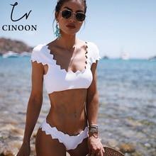 ФОТО cinoon swimwear women bikini 2018 swimsuit sexy white bikinis maillot de bain femme trajes de solid bathing suit women biquini