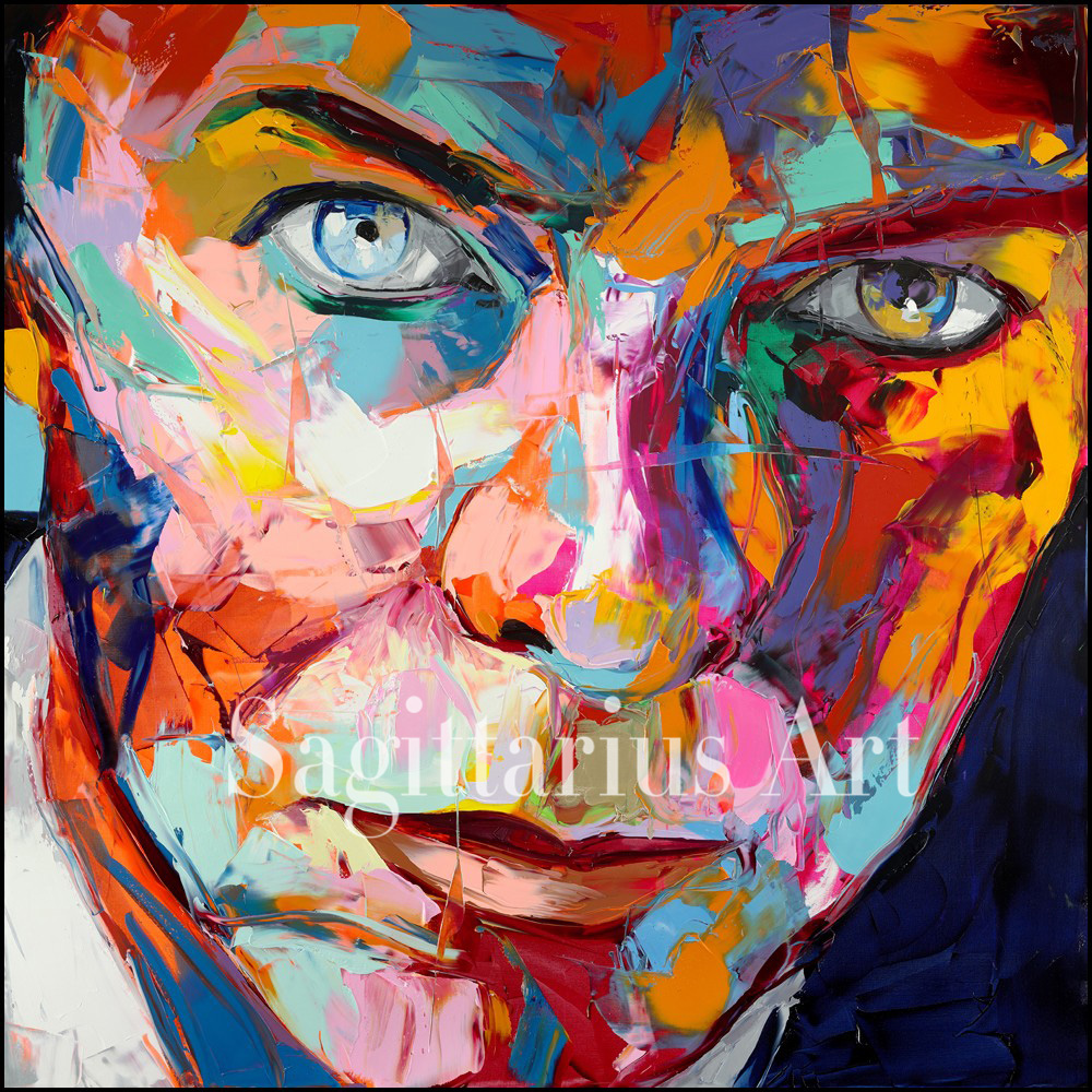 Hand Painted Palette knife portrait Cool Face David Bowie Francoise Nielly Designer Oil painting canvas Wall Art Living Room image