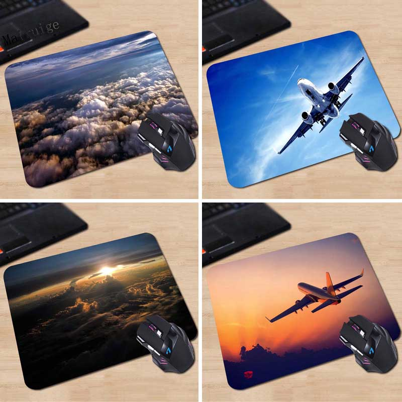 Mairuige Airplane Sky View Custom Design Fashion Pad Computer Gaming Mousepad Mouse Mat Mat Rubber Mat 20 * 25cm 25 * 29cm