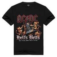 Men/Women cotton AC/DC BELL'S BELLS T-shirt ROCK BAND t shirt Summer acdc tshirt Men Solid Black Men tops loose t-shirts