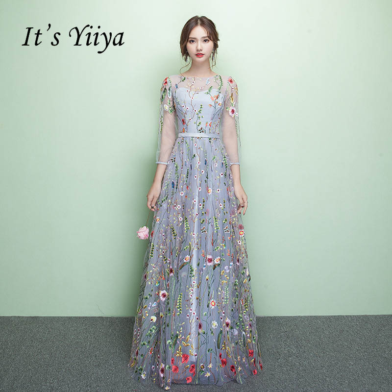 It\'s Yiiya Floral Illusion Backless Print Zipper A-line Evening ...