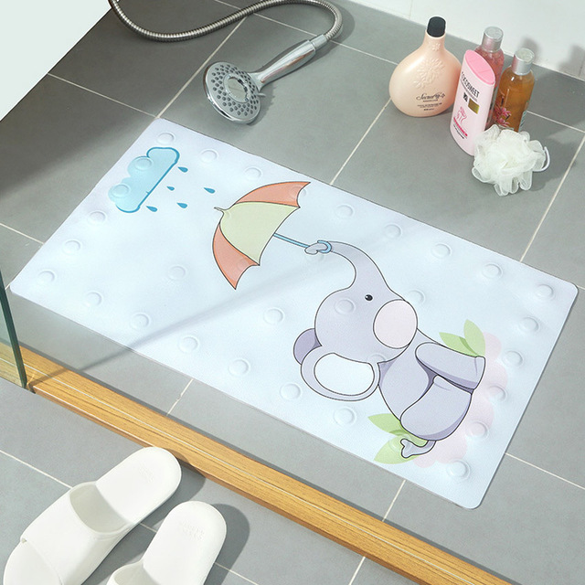Non-Slip Bath Mat Cartoon Elephant Geometric PVC Mats for Bathroom Toilet Bathtub Rug Doormat with suction cup Safety 40x70cm