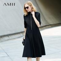 Amii Women Minimalist Dress 2018 Solid A Line Turtleneck Knee Length Female Dresses