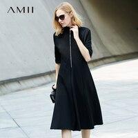 Amii Women Minimalist 2018 Autumn Dress Elegant Office Lady A Line Zipper High Quality Knee Length Female Dresses