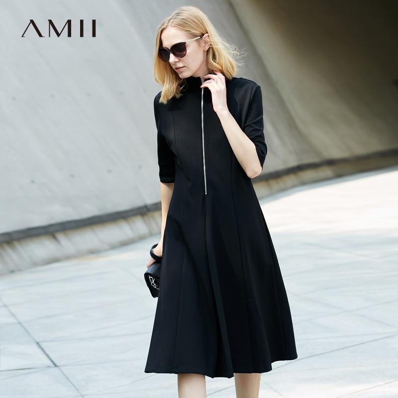 Amii Women Minimalist Dress 2018 Solid A Line Turtleneck Knee Length Female Dresses цена