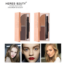 Brand NEW HOT-SELL HERES B2UTY Professional Eyebrow Powder Brown and Grey 2 color Palette WIth Oblique Head + Spiral Brush