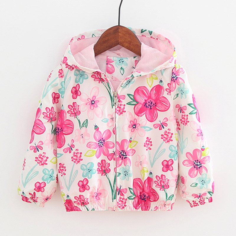 Baby Girls Autumn Clothes Jackets Cartoon Graffiti Printed Flowers Hooded Pink Windbreaker For Girl Toddler Kids Outerwear Coats