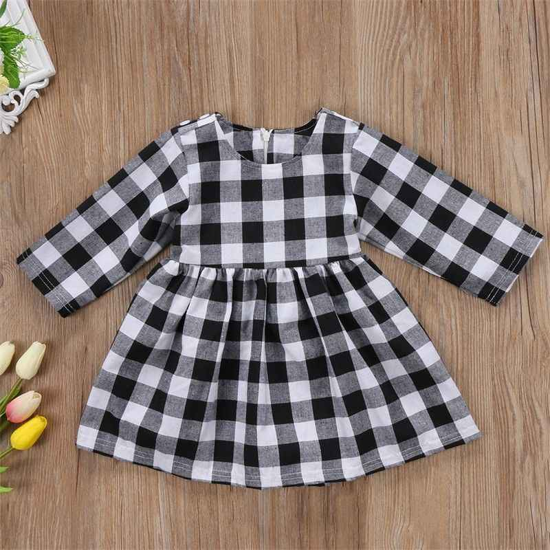 Winter Girl Toddler Princess Dress Kids Baby Party Pageant Plaid Long Sleeve Black And White Dresses Clothes