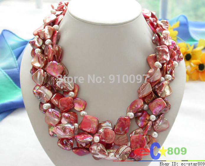 ">>>100"" 16mm red square shell white pearl necklace"