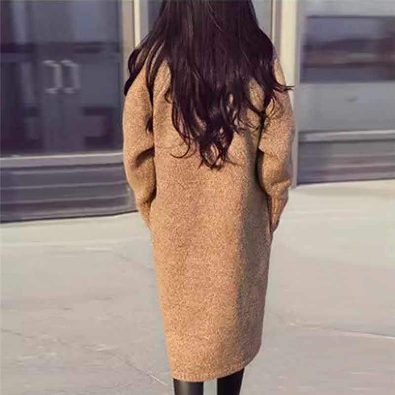 2019 Mùa Thu Mùa Đông Đầy Đủ Tay Áo Dài Cardigan Phụ Nữ Áo Len 2019 Giản Dị Ấm Áo Khoác Nữ Dệt Kim Outwear Dệt Kim Casaco Okd241