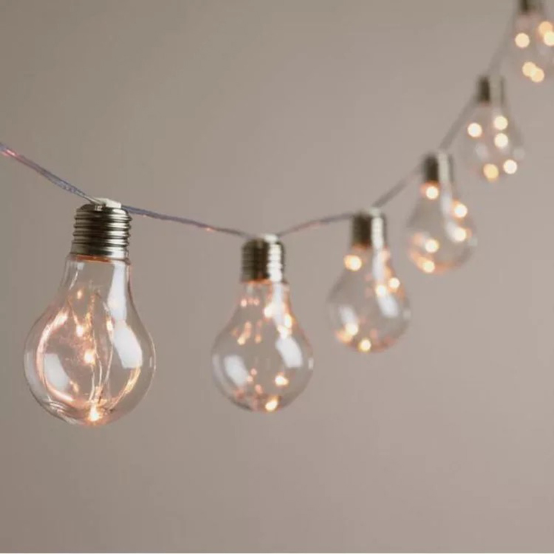 Vintage 5M 10 Led Bulb Fairy String Lights Battery Festoon Party Garlands Lights For Wedding Garden Xmas Home Outdoor Decoration