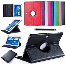 Para Samsung Galaxy Tab 4 10.1 T530 T531 T535 Tablet PU Cubierta de la Caja Elegante Del Soporte de Cuero Giratorio de 360 Protector de Pantalla + Stylus pluma