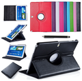 Para Samsung Galaxy Tab 4 10.1 T530 T531 T535 Tablet PU de couro inteligente caso 360 rotação protetor de tela + Stylus caneta