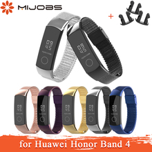 Mijobs Milanese Metal Strap for Huawei Honor Band 4 Strap Smart Accessories Stainless Steel Wristband for Honor Band 4 Bracelet