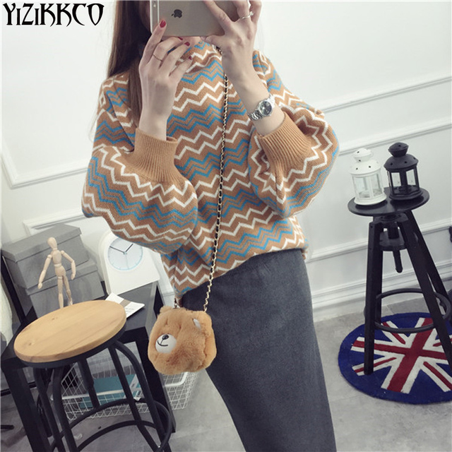 Women Sweater 2016 Winter New Fashion Wave Striped Pullovers Knitted Puff Sleeve Sweaters High Quality Pull Femme SZQ0012