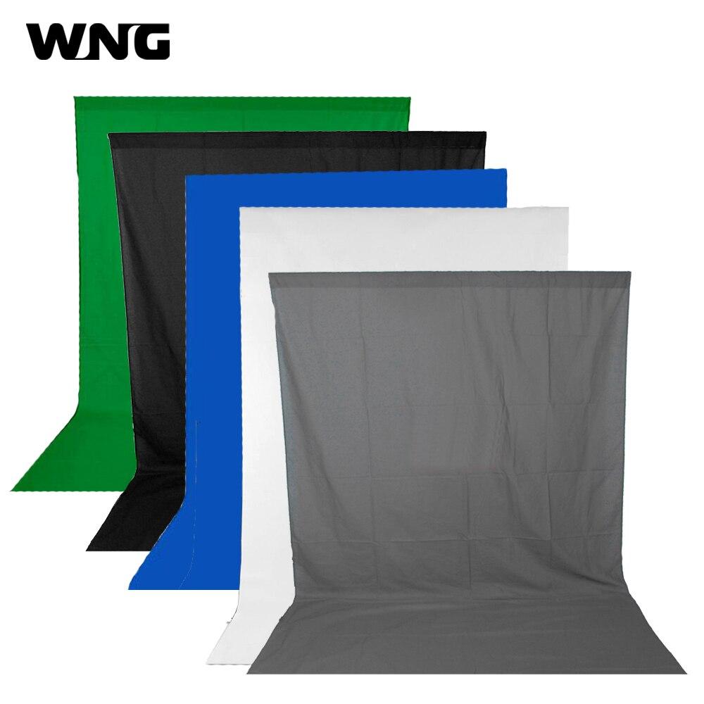 10FT * 10FT Muslin Fond Tissu Fond Photographie pour Éclairage Photographique Studio Noir Vert Bleu Blanc Gris