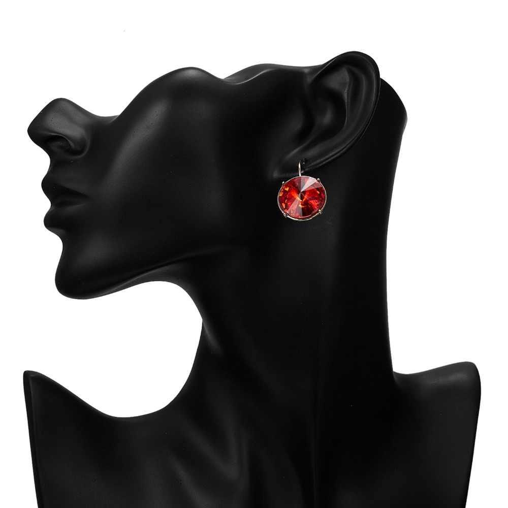 5 色ラウンドクリスタルイヤリングファッションジュエリーゴールドカラーメタルスタッド女性のウェディングジュエリーガールギフト